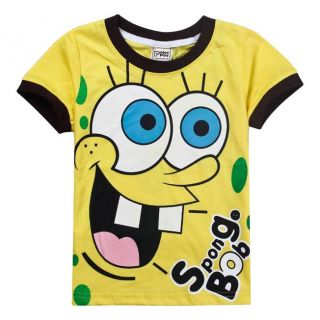 New Kids Boys Girls Funny Spongebob Short Sleeve T Shirts Tops 3 4 Years 100