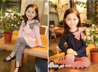 2pcs Baby Girl Kids T Shirt Top Pants Trousers Tights Outfit Set Suit Clothes