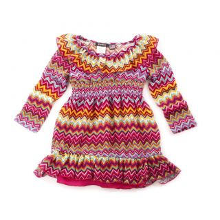 Zunie  Lined Pink Striped Geo Dress Baby Girl Ruffle Mesh Rainbow 3T 3