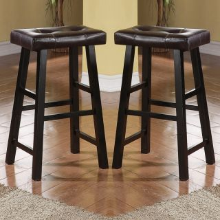 "Set of 2 Brown Faux Leather Seat Cushion Black Solid Wood 29""H Saddle Bar Stools"