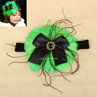 1pc New Baby Infant Girl Kids Flower Feather Headband Hair Band Bow Accessories