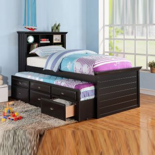 Cottage Youth Kids Bookcase Headboard Black Wood Combo Trundle Drawers Twin Bed