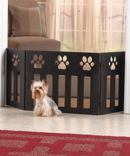 Adjustable Wooden Wood Pet Gate Home Safety Dog Puppy Hall Door Fence Paw Print