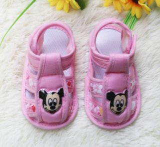Newborn Baby Shoe Stripe Mickey Mouse Sandals Soft Sole Infant Shoes 0 14M New