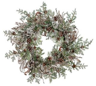 "24"" Rustic Woodland Iced Artificial Christmas Wreath"
