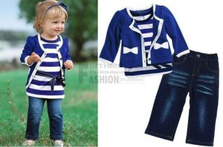 3pcs Baby Girl Kid Coat T Shirt Jeans Outfit Set Suit Clothing Navy Blue 1 5Year