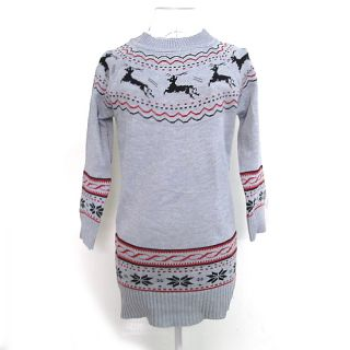 Soft Girl Women Knit Sweater Mini Dress Pullover Jumper Top Snowflake Deer Print