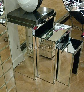 Art Deco Mirrored Accent Nesting Tables Chic Home Decor