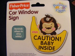 "Fisher Price Car Window Sign ""Caution Baby Inside"" Monkey Bananna Reflective"