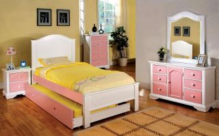 Girls Kids Pink White Cherry Black Wood Twin Full Panel Bed with Trundle