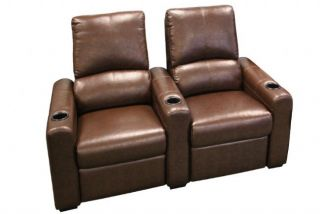 Eros Home Theater Seating 4 Brown Seats 2 Rows Push Back Recliner Chairs