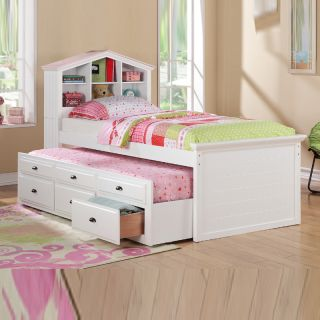 White Girls Kids House Shaped Bookcase Headboard Combo Trundle 3 Drawer Twin Bed