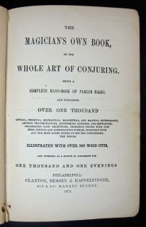 1870 Antique Magic Book Magician Secrets Occult Conjuring Art Tricks Illusions