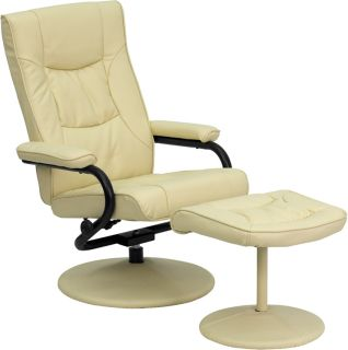 New Cream Tan Leather Recliner Chair with Matching Wrapped Base Arms and Ottoman