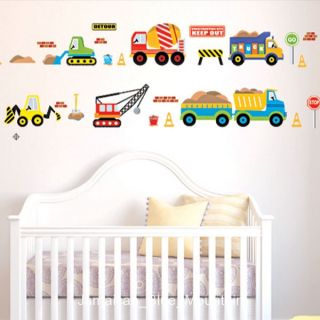 Cartoon Construction Site Trucks Road Signs Wall Sticker Decal