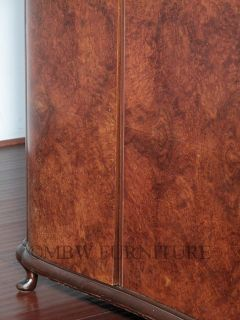 Antique Burl Walnut Art Deco 3 Door 5ft Armoire Wardrobe Closet c1930's P23