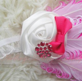 Baby Girl Infant Toddler Peacock Feather Flower Headband Headwear Hair Band Clip