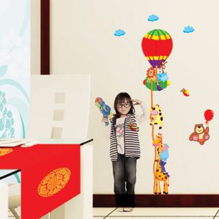 Animal Hot Air Balloon Growth Chart Ruler Wall Sticker Decal