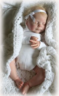Reborn Fake Baby Heather by D RuBert Limbs by N Blick Hand Crocheted Bunting