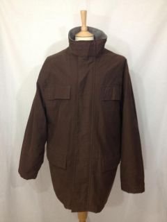 Timberland Weathergear Mens Dark Brown Wool Lined Parka Style Winter Coat L