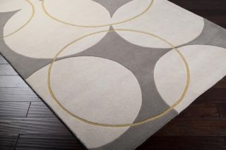 Contemporary Wool Geometric Area Rug Carved Rectangle Circle Ivory Beige Mustard
