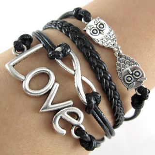 Antique Silver Infinity Love Owls Charms Leather Wrap European Bracelet