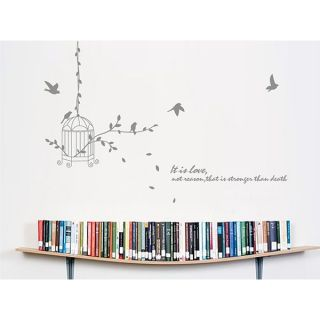 Hanging Bird Cage Silhouette Quote Removable Wall Sticker Decal