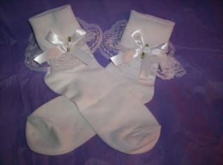 Custom Made Adult Sissy Womens Mens CD Cute Sexy White Satin Bow Anklets Socks