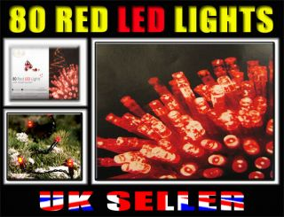 80 Red Colour LED Lights Christmas Eve Party Tree Indoor Outdoor Light Chaser