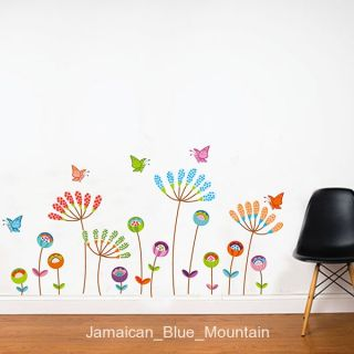 Colorful Cartoon Flowers Butterfly Removable Wall Sticker Decal