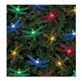 20 LED Garden Party Solar Powered Rechargeable Dragonfly String Fairy Lights