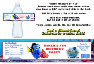 Finding Nemo Movie Printed Water Bottle Labels Birthday Party Favors Supplies