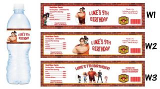 Wreck It Ralph Printed Water Bottle Labels Birthday Party Favors Supplies