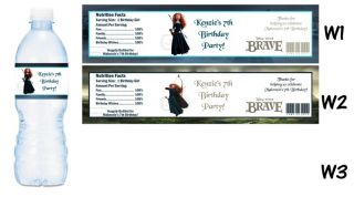 Brave Movie Printed Water Bottle Labels Birthday Party Favors Supplies