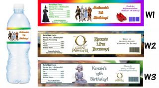 Wizard of oz Printed Water Bottle Labels Birthday Party Favors Supplies
