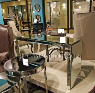 Art Deco Brandy Mirrored Console Table Chic Beveled Mirrors Horchow