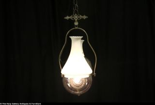 Angle NY 1890's Double Kerosene Hanging Lamp Electrified