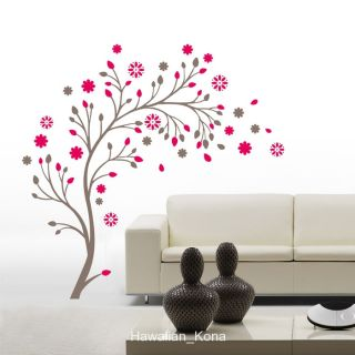 Tree Branch Red Flowers Wall Sticker Decal