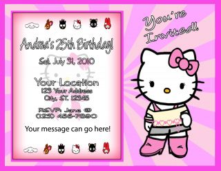 Hello Kitty Birthday Party Ticket Invitations Favors UPRINT Option Available