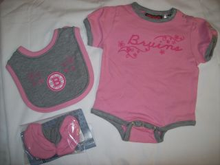 Boston Bruins Baby Girl Pink Creeper Bib and Booties