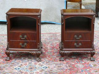 Antique Flame Mahogany 6 PC Suite Chippendale Bedroom Set 1950s Empire Case NY
