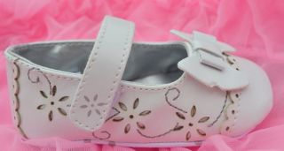 White Mary Jane Toddler Baby Girl Shoes UK Size 2 3 4