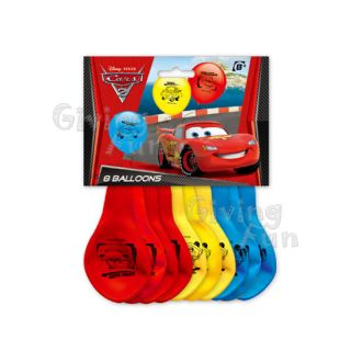 Authentic Disney Pixar Cars Lightning McQueen Birthday Party Supplies 8x Balloon
