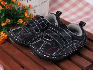 New Toddler Baby Boy Black Hard Sole Sneakers Walking Shoes US Size 2 3 A900