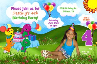 Barney Dinosaur Birthday Party Invitations Thank You Card Unisex Boy Girl