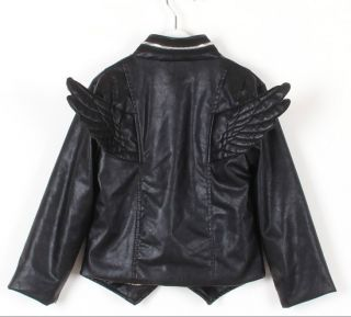 Baby Toddler Boys Girls Faux Leather Back Angel Wing Coat Kids Locomotive Jacket