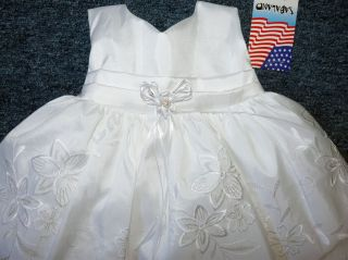 New 3 Piece Baby Infant Girls Christening Baptism Wedding Dress Small 6 MO