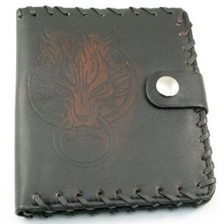 W31 Punk Men Women Black Leather Red Wolf Men Women Standard Size Wallet Hip