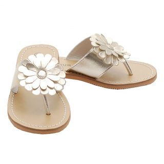 Little Girls Size 11 Gold Daisy Flip Flop Spring Sandals Shoes
