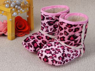 New Toddler Baby Girl Pink Leopard Boots US Size 4 A887